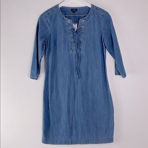 Talbots Chambray Shift Dress with Lace-up Tie, NWT